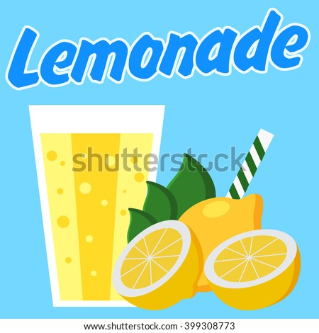 Lemonade Poster Blue Background Cut Lemons Stock Vector 399311023 ...