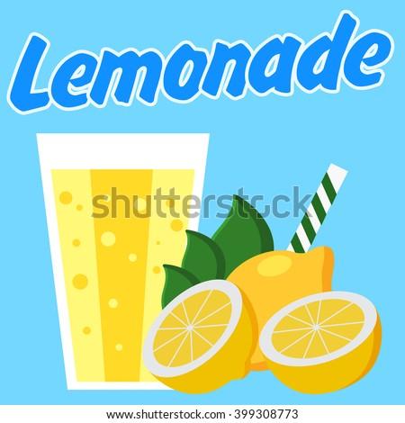 Lemonade Poster Blue Background Cut Lemons Stock Vector 399311023 ...
