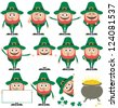 Leprechaun Set: Leprechaun in 11 different poses and his pot of gold over white background. - stock vector