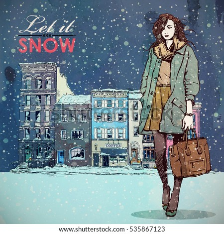 Let it snow. Winter fashion illustration. Pretty girl on a city background. Watercolor style.