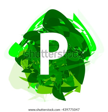Letter P, logo design template element, letter on green abstract, font style, vector illustration