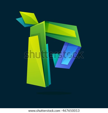 Letter P logo in low poly style with green leaves. Ecology vector design for presentation, web page, app icon, card, labels or posters.
