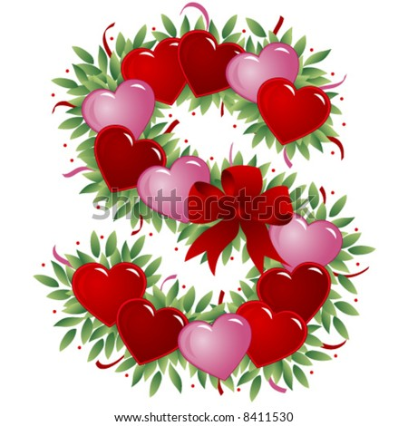 K Letter With Heart Images Letter S - Valentine's Love Letters - stock vector