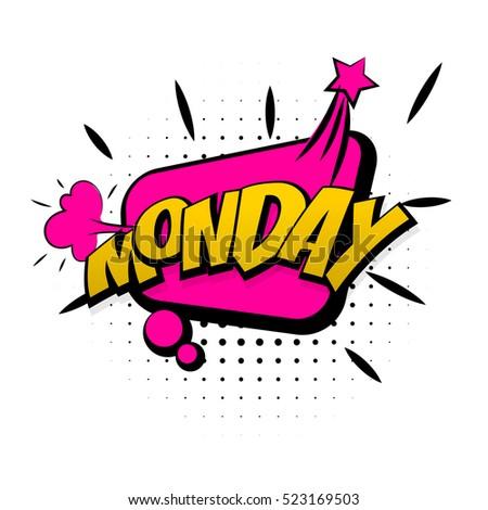 Monday Word Comic Speech Bu...