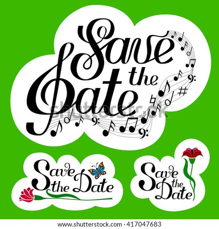 Lettering save date collection music notes stock vector Collect and save