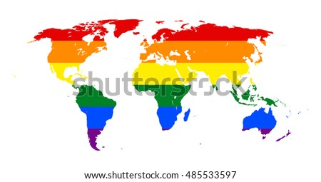 LGBT (lesbian, gay, bisexual, and transgender) Flag over world map vector. International Gay Pride Concept