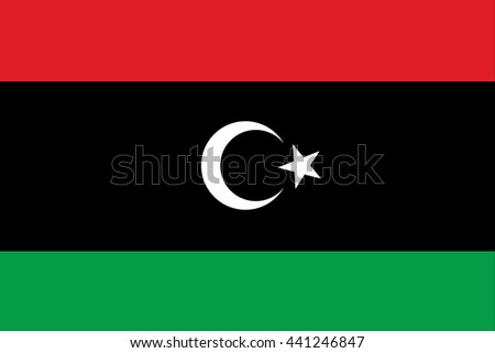 Libya flag official of the right proportions, crescent star, stylish vector illustration EPS10