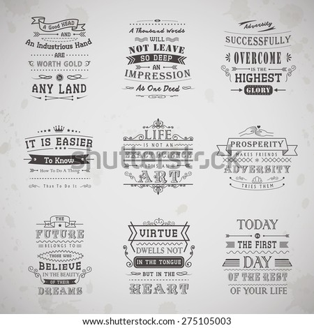 life quotes set isolated on grey background