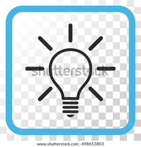 vector square blue icon lighting bulb. light bulb blue and gray vector icon image style is a flat symbol in square lighting