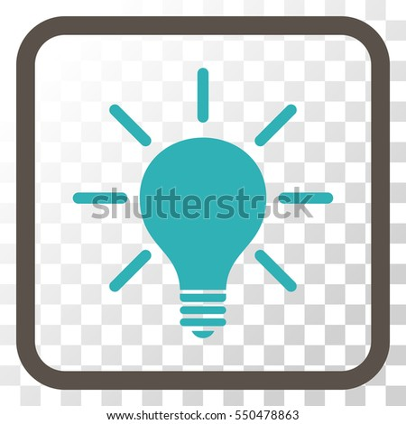 vector square blue icon lighting bulb. light bulb grey and cyan vector icon image style is a flat iconic symbol inside square blue lighting