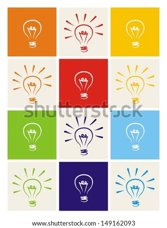 Light bulb icon vector set - hand drawn colorful doodle collection isolated on green, blue, dark denim, beige, red, orange and yellow background. Sign of ecology thinking or creative invention