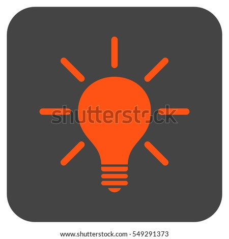 Light Bulb vector icon. Image style is a flat icon symbol in a rounded square button, orange and gray colors.