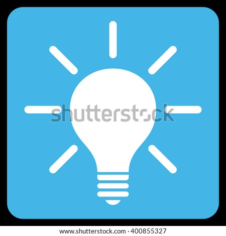 Light Bulb vector icon. Image style is bicolor flat light bulb icon symbol drawn on a rounded square with blue and white colors.
