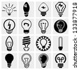 Light bulb vector icon set. - stock vector