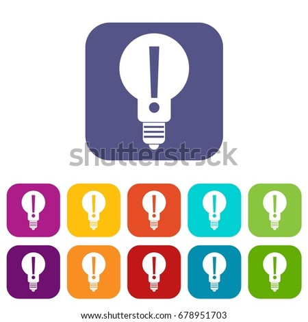 vector square blue icon lighting bulb. light bulb with exclamation mark inside icons set vector illustration in flat style colors red square blue icon lighting