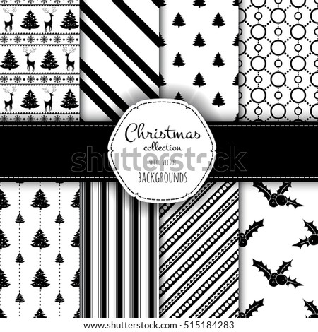 Light Collection of seamless patterns with black and white colors. Set of seamless backgrounds with traditional symbols - snowflakes, pine tree,deer,holly berry and suitable abstract patterns.