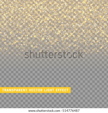 light effect gold texture glowing rain of confetti. Glitter particles shining stars. Christmas background Bright design element. Xmas decoration luxury greeting card