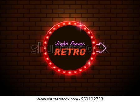 Now Open Neon Sign Light Glow Stock Vector #2: stock vector light frame circle shining retro banner you can move arrow
