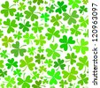 Light green seamless clover pattern on white, vector background for St. Patrick's Day - stock vector