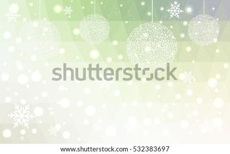 Light Green Yellow christmas postcard low polygon background. Vector illustration consisting of triangles. Abstract triangular polygonal origami or crystal design of New Year celebration.