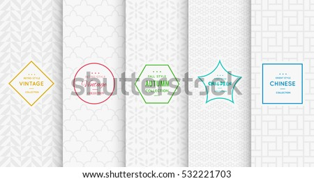 Light grey white seamless pattern background. Vector illustration for elegant design. Abstract geometric photo frame. Stylish decorative bright label set. Fashion universal pattern.