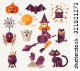 Light halloween set. Halloween attributes: pumpkin, bat, spider with web, owl, witch on a broom, black cat, grave, pot ,spooky ghost. Flat vector illustration set.  - stock vector