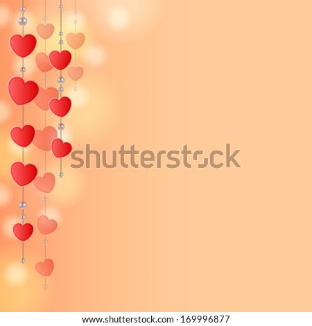 Light pink-red background with decoration of hearts and beads on strings