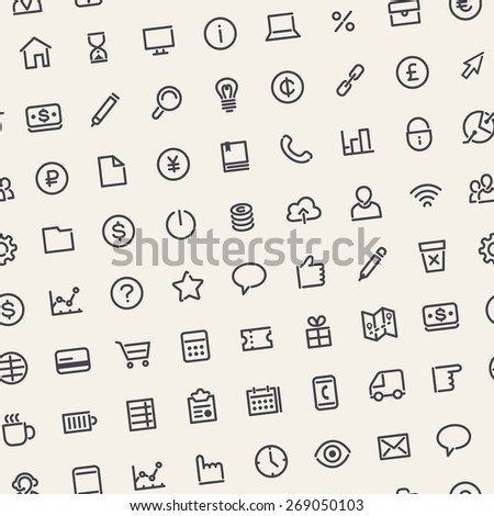 Light Seamless Business Background with Line Icons. Editable Pattern in Swatches.