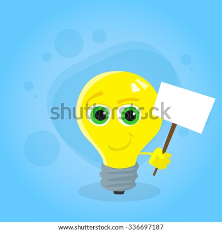 Light Yellow Bulb Cartoon Character Hold White Sign Board Concept Idea Smile Face Flat Vector Illustration