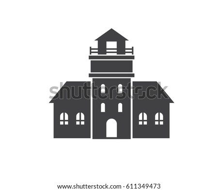 Vector flat style illustration fairy castle stock vector 653632738 lighthouse icon in outline design sea light house logotype silhouette vecotr illustration old pharos malvernweather Images