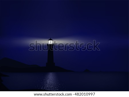 Lighthouse is coastal at night