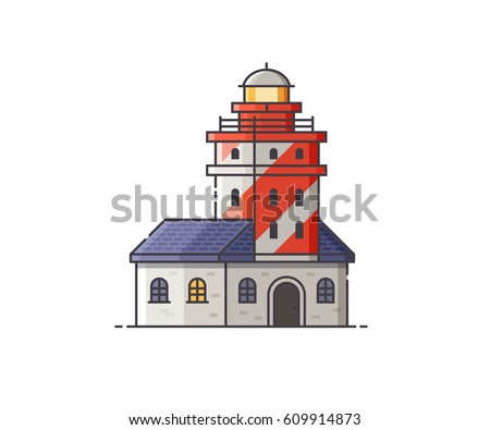 Vector gold lighthouse icon on dark stock vector 319676528 lighthouse vector illustration red light house building isolated on white background sea pharos or malvernweather Images