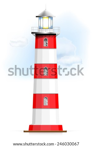 Lighthouse with sky and clouds - isolated on white background. Vector illustration.