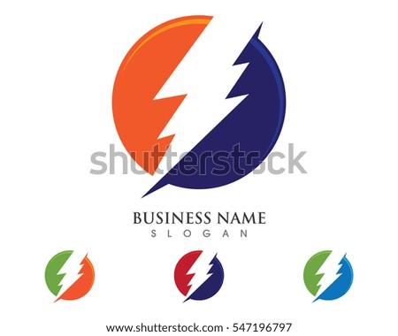 Lightning Logo Template Vector Icon Illustration Stock