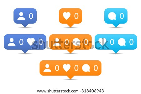 Like, follow, comment icons in flat style. Orange and blue notification tooltip with heart, user, speech bubble, counter, shadow on white background. Set 01. Vector illustration design element 8 eps