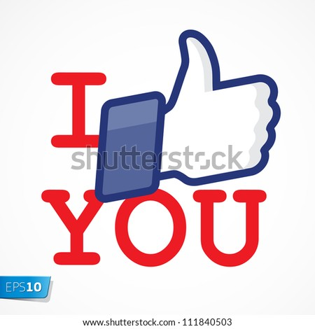 Like/Thumbs Up symbol icon - I like you, vector Eps10 illustration.