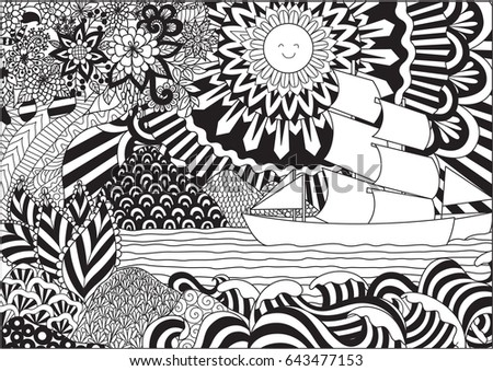 Line Art Design Of Seascape For Adult Or Kids Coloring Book Page Vector Illustration