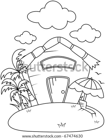Line Art Illustration Of A Small Rest House Coloring Page