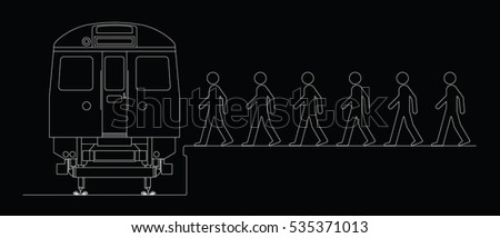 Line drawing of commuters boarding a train to work isolated on black background