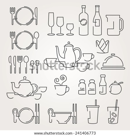 Line Icons Set : Dinner Restaurant and Eating