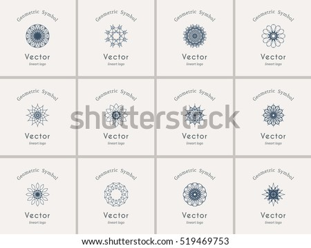 Linear ornamental logo templates set. Vector arabic geometric symbols