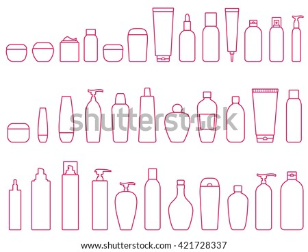 linear set of cosmetic bottle icons on white background