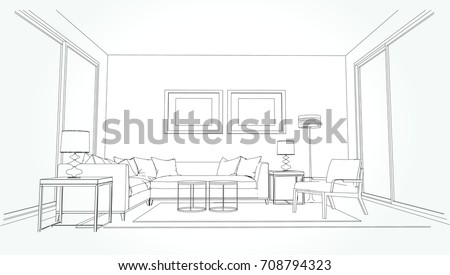 Sketch house architecture drawing free hand stock vector for Living room outline