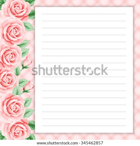 Lined Page Notes Design Retro Style Stock Vector 345449255