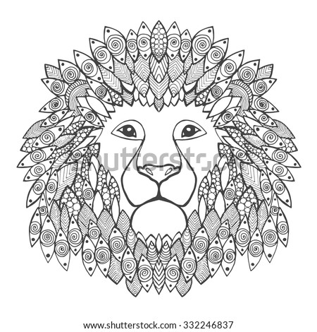 lion head adult antistress coloring page black white hand drawn doodle animal ethnic