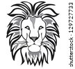 lion outline vector isolated on white background - stock