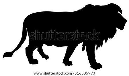 Lion vector silhouette illustration isolated on white background.