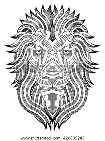 Lion zentangle. Editable monochrome vector illustration