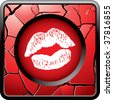 lips kissing on red cracked web button - stock vector
