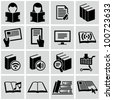 Literature and e-book icons set. - stock photo